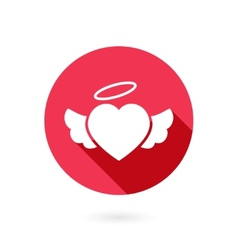 Red winged heart icon with shadow vector image