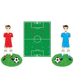 soccer field and players vector image