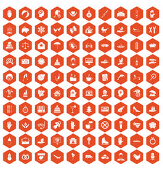 100 joy icons hexagon orange vector