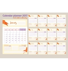 2017 Calendar planner Week starts on Monday vector image
