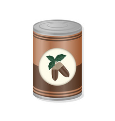 acorn in metal can vector image