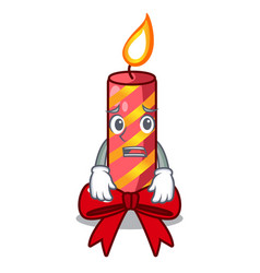 afraid christmas candle combined with pita cartoon vector image