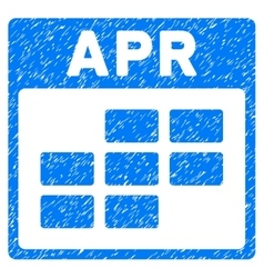 April Calendar Grid Grainy Texture Icon vector