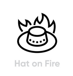 Australian hat on fire abstract logo icon vector