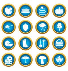 Autumn icons blue circle set vector