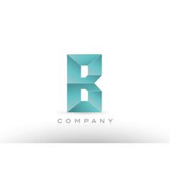 b alphabet letter green logo icon design vector image