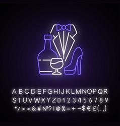Bachelor party neon light icon vector