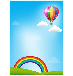 Balloon and rainbow on blue sky background vector image