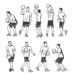 Basketball player in different poses with ball vector