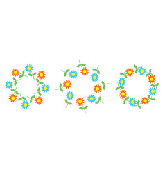 beautiful floral patterns in the shape of wreaths vector image