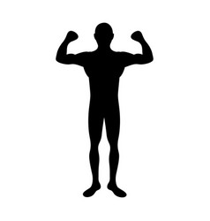 black silhouette muscle man fitness vector image