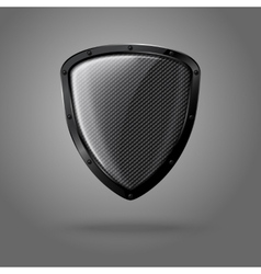 Blank realistic glossy shield with carbon texture vector image