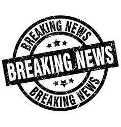 Breaking news round grunge black stamp vector