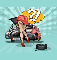 Broken car with an open hood and a girl who vector
