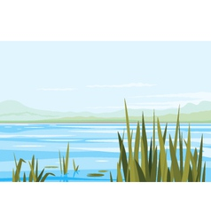 Bulrush Plants River Landscape vector