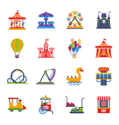 Carousels amusement attraction park side-show kids vector