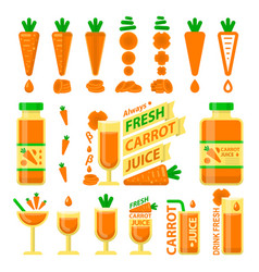 carrot and fresh juice flat elements vector image
