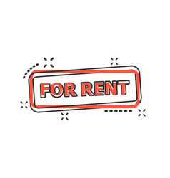 cartoon for rent seal stamp icon in comic style vector image
