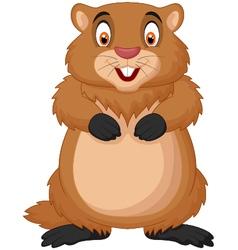 Cartoon happy groundhog vector