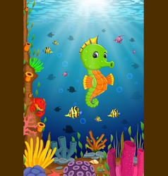 Cartoon tropical sea horse vector