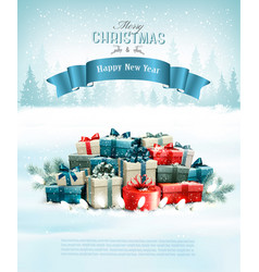 christmas holiday background with presents and a vector image