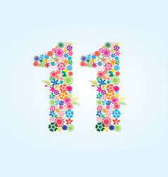 Colorful floral 11 number design isolated on vector