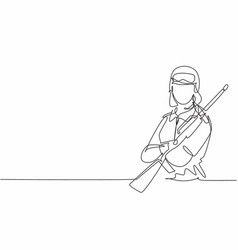 continuous one line drawing young female vector image