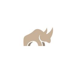 creative brown rhinoceros logo symbol design vector image