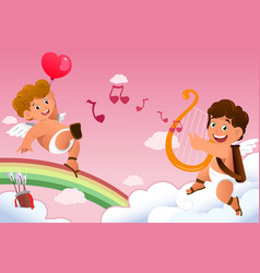 cupid valentine background vector image