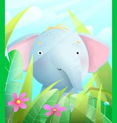 Cute baby elephant sitting in savannah in grass vector