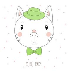 Cute cat boy portrait vector