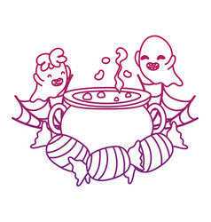 degraded outline happy ghosts with pot cauldron in vector image