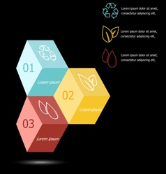 Design 3D box infographic on black background vector image