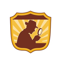 detective inspector with magnifying glass vector image