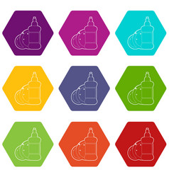 dischwashing liquid icons set 9 vector image