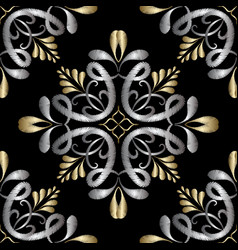Embroidery damask seamless pattern tapestry vector