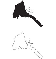 Eritrea country map black silhouette and outline vector