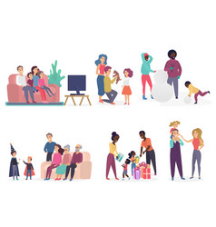 family members spending time together parents vector image