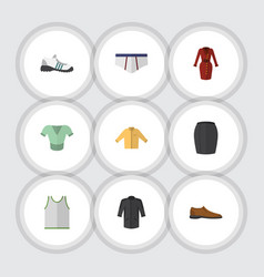 flat icon clothes set of banyan singlet clothes vector image
