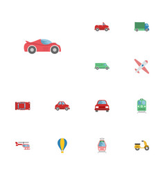 Flat icons carriage streetcar automotive and vector