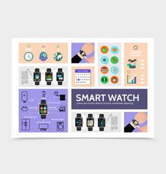Flat smart watch modern infographic template vector