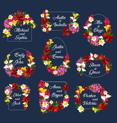 Flowers wedding save date frames icons vector