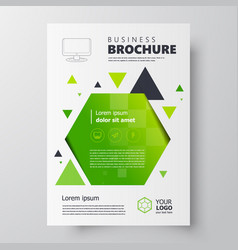 Flyer brochure design template geometric theme vector