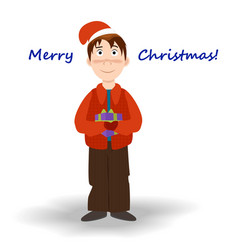 funny cartoon boy with a gift box in his hands vector image