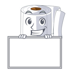 Grinning with board cartoon toilet paper in the vector