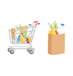 Grocery food cart eco shopping bag and shopping vector