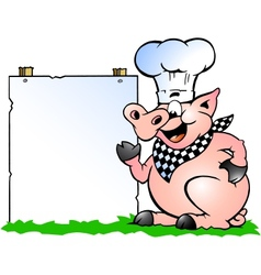 hand-drawn an chef pig standing and pointing vector image