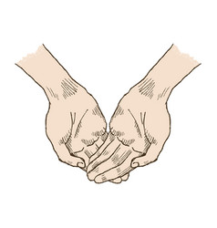 Hands asking posture one hand on top of other pop vector