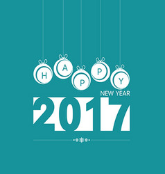 happy new year with christmas ball in blue vector image