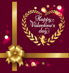 happy valentines day poster with heart vector image